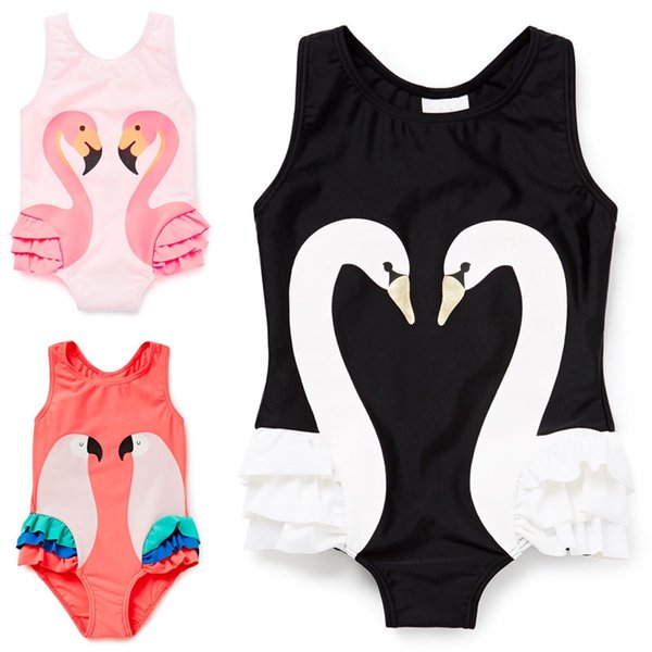 top popular Girls Swimsuit Cartoon Kids Swimwear with Swimming Cap Parrot Swan Flamingo 2017 baby girl bathing suit One Piece swim wear free shipping 2020