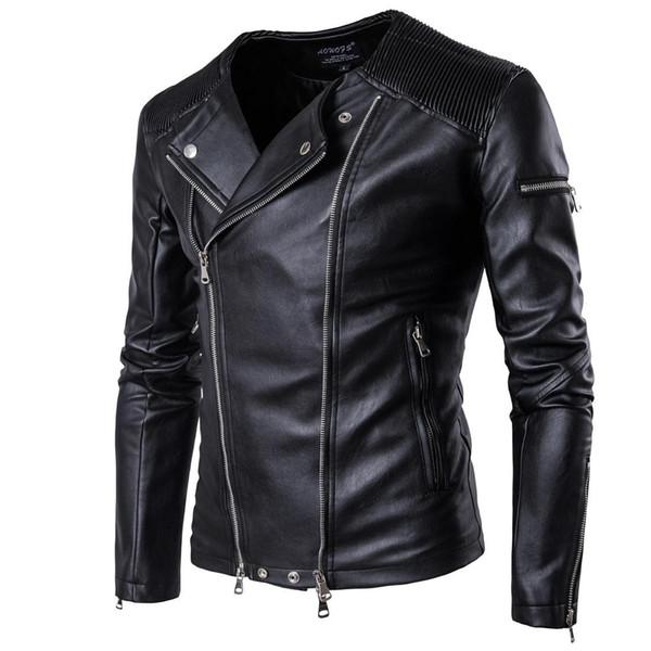 5XL Artı Boyutu Erkekler Deri Ceket Kişiselleştirin Vahşi Moto Erkek Ceket Ceket Kış İngiliz Vahşi Motosiklet Erkekler Ceketler T170602