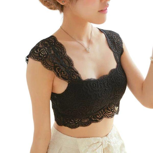HOT 2016 New Women Sexy Lace Bralette Bra Bustier Crop Top Black Cropped Blusas Vest Halter Tank Tops Camisole haut femme Z1