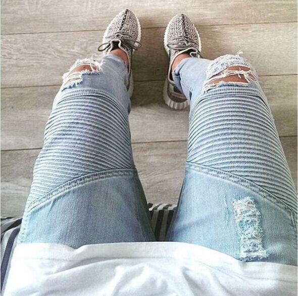 top popular Wholesale-represent clothing designer pants slp blue black destroyed mens slim denim straight biker skinny jeans men ripped jeans 28-38 2019