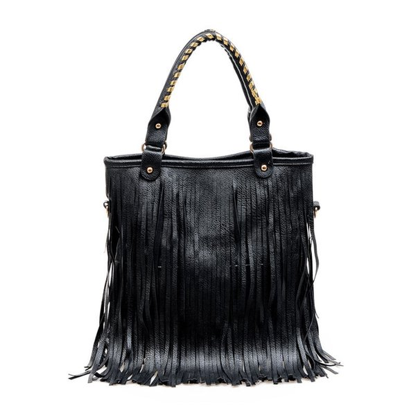 Wholesale-women new leather handbags tote sling bags big over shoulder retro fringe European and American Style solid ladies bolsas casual