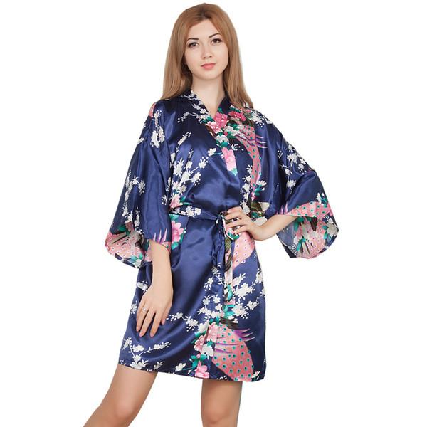 b131581222 Wholesale- New Wedding Bride Bridesmaid Robe Floral Bathrobe Short Kimono Night  Robe Bath Robe Fashion Dressing Gown For Women One Size T03