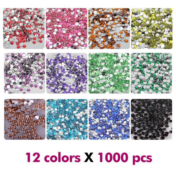 Nail Art Strass Cristal Micro Diamant Flatback Colle Fixe Non Hotfix Strass Décoration Vêtements DIY 12 Couleurs x 1000 Pcs 2mm / 3mm