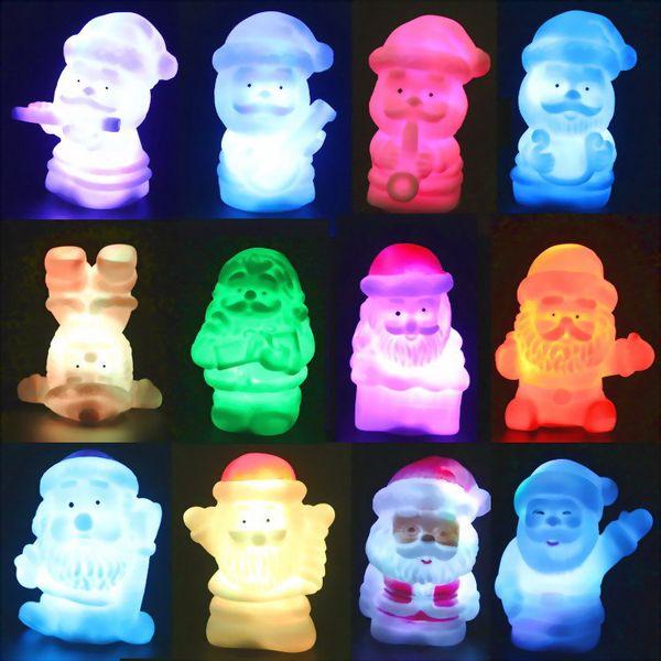 Lámpara de decoración navideña LED Colorido muñeco de nieve Setas Papá Noel, colorido cambiante regalo de luz nocturna 20pcs / lot