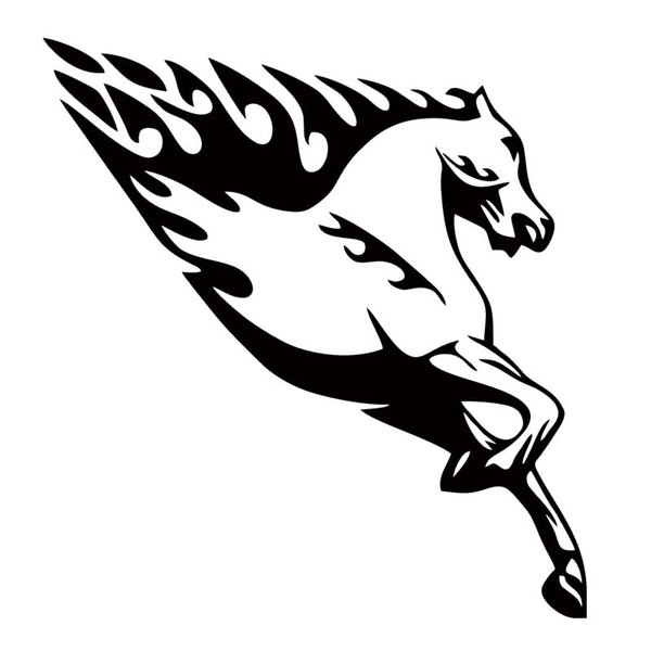 Running Horse With Flames Vinyl Personality Car Sticker Jdm Car Styling For Car Body Truck Decal Decorative Art
