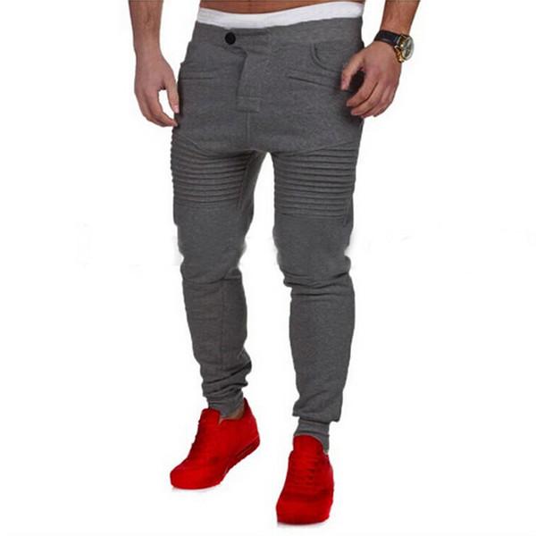 top popular Wholesale-Designer Mens Harem Joggers Sweatpants Elastic Cuff Drop Crotch Biker Joggers Pants For Men Black Gray Dark Grey White 22 2019