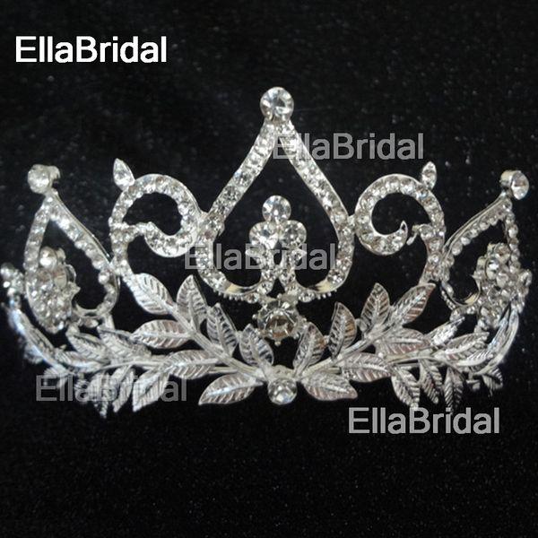 Real Photo New Style Bridal Crown High Quality Leaf Crystal Tiara Bridal Hair Accessory Wedding Hair Jewelry Headdress Factory Headpiece