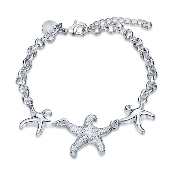 925 Silver charm bracelet starfish fashion jewelry for women beautiful birthday gift fine accessories cheap wholesale free shipping