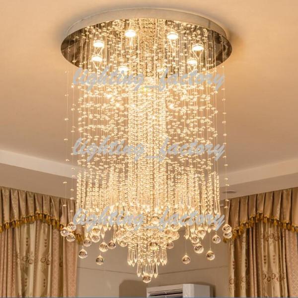 Diâmetro 60/80/100 cm Modern Minimalista LEVOU Vaidade Longa Escada Lustre de Cristal Luminária para Sala de estar Grande Hall de Entrada do Salão de Hotel de Luxo Foyer