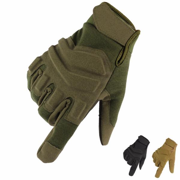 Atacado-Exército Tático leatherl Luvas Forças Especiais Ao Ar Livre Dedo Cheio de Combate Slip-resistente resistente ao corte guantes fitness eldiven