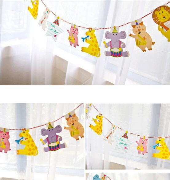 New Arrive 15Pcs/Pack 2M Happy Family Baby Shower Cartoon Animal Garland Striped Paper Flags Banner Decor Birthday Party Supplies For kids