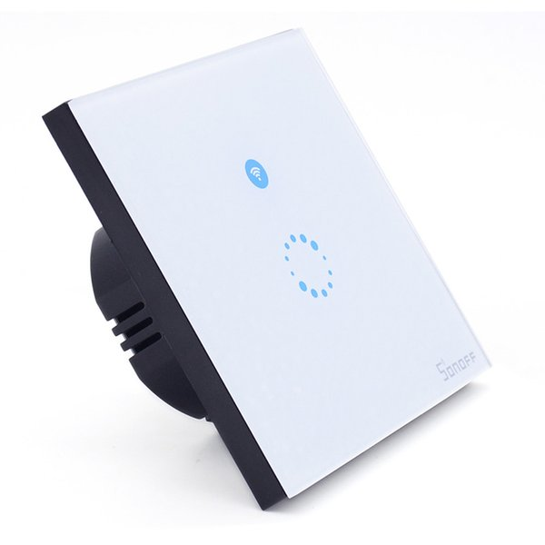 Al por mayor-2016 El más nuevo de la UE Sonoff Touch Panel de vidrio de lujo LED Interruptor de luz LED Smat Inicio Control remoto Wifi Switch One Way VS Broadlink