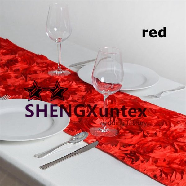 Good Looking More Thick Satin Rosette Table Runner For Table Cloth Decoration