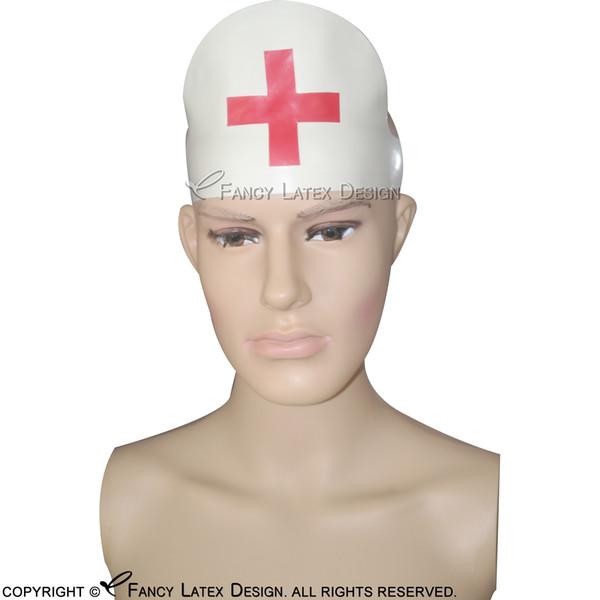 White With Red Cross Decorations Sexy Nurse Latex Headgear Fetish Rubber Head Gear Plus Size TT-0041