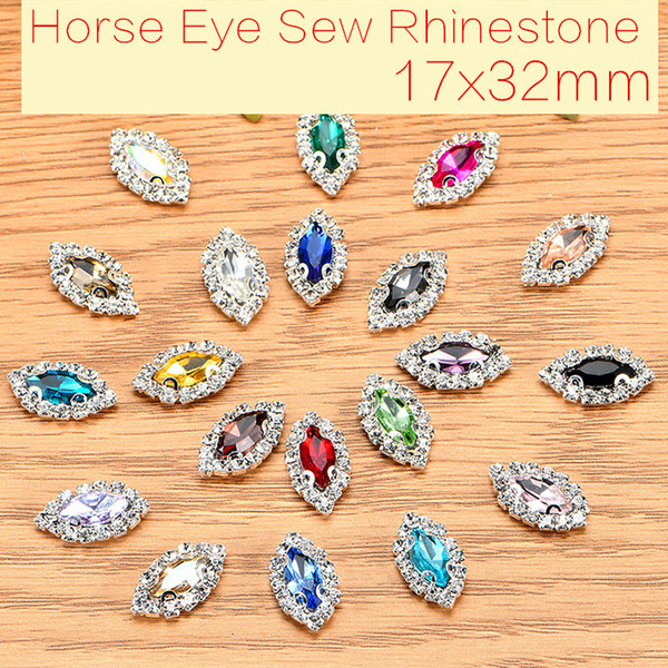 best selling 17x32mm 20pcs Horse Eye Glass Crystal Sew On Rhinestones With Claw DIY Buttons Clothing Accessories Decoration
