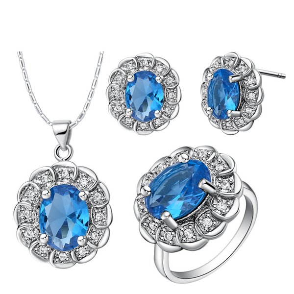 For Jewelry good Baby Angals Ladies leaves 925 Silver necklace Earring ring Women Gift suit made high-grade crystal diamond suit suit
