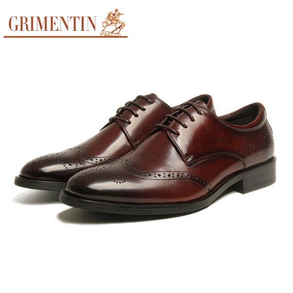 GRIMENTIN Hot sale Italian mens oxford shoes fashion formal men dress shoes genuine leather office wedding business male shoes flats SH