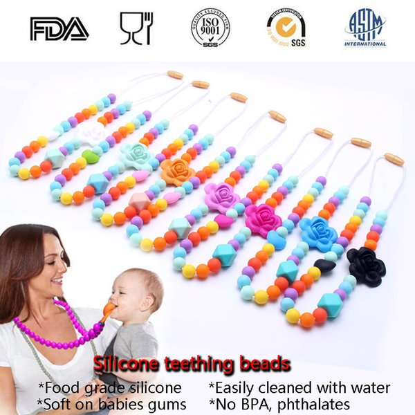 100% BPA Free Food Grade DIY Flower Silicone Baby Chew Beads Teething Necklace Wholesale Nursing Jewelry Teether for Mom Mommy to Wear