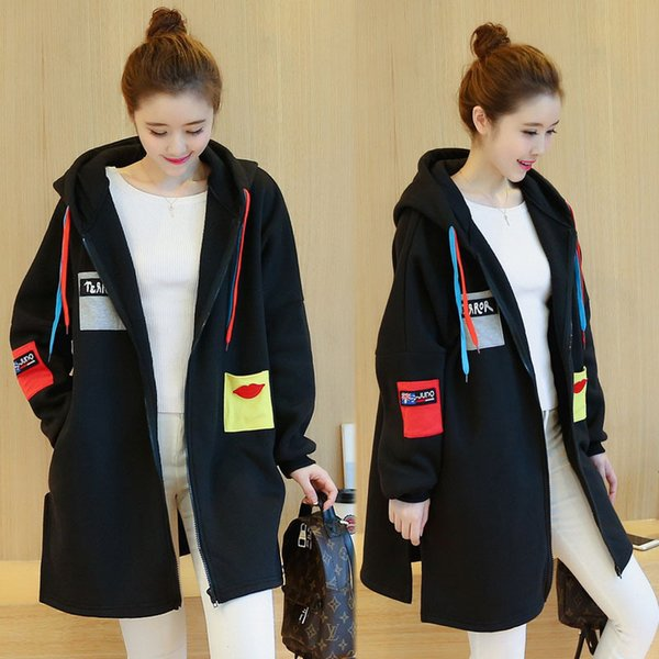 Pregnant women Zipper Women Long Hoodies Solid Cotton Loose Coat Casual Lady Clothing Hooded Autumn Winter Pregnant women Outerwear Jacket