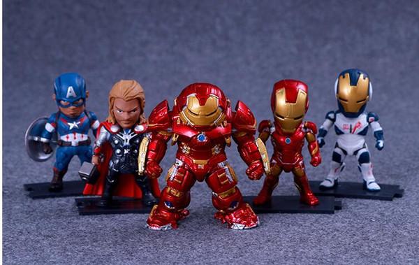 5pcs/set 9CM The Avengers Captain America Thor Hulk Iron Man PVC Action Figure Collection Model Toys Dolls A17043054