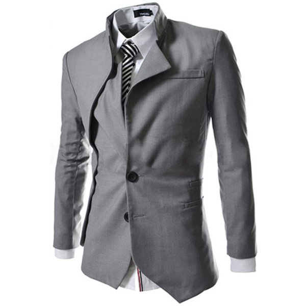 Atacado- 2016 Blazer Men chegada coreano Design de moda Mens preto Slim Fit Falso Two Suit Men Marca Jaqueta Outono Blazer Casual