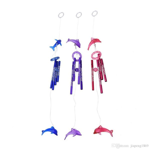 best selling New Creative Crystal Dolphin 4 Metal Tubes Wind Chime Home Garden Hanging Decor 3 Colors Pink,Blue,Purple 1PCS