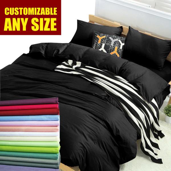 Wholesale- Custom Cotton Solid Duvet cover set 16 Size bedding sets King,High density White Black bedclothes,quilt cover pillowcase #38