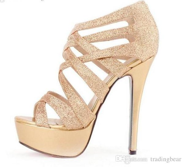 a932ea6ef859 gladiators strappy heels Promo Codes - Glitter Women High Heels Gold Dress  Sandals Crossover Strappy gladiator