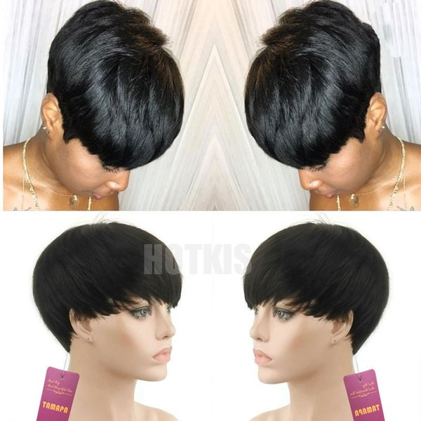 HOTKIS 100% Human Hair Short Pixie Wigs Brazilian Hair None Lace Bangs Short Hair Wigs For African American Wigs