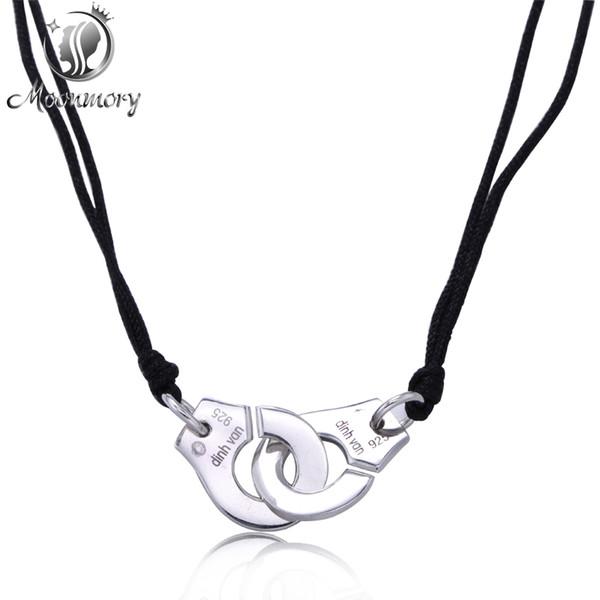 Al por mayor-Real 925 Sterling Silver Handcuff Menottes collar colgante con cuerda negra para mujer compatible con la venta al por mayor de la joyería de Francia