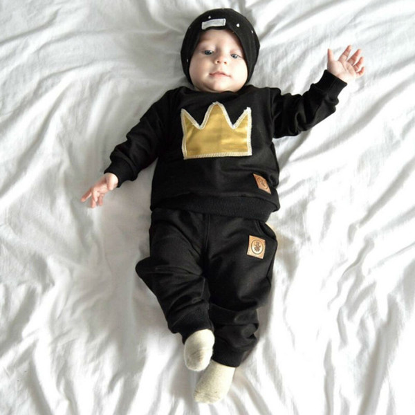 Mikrdoo Baby Boy Clothes Hot Sale Black T-shirt Pants Suit Crown Printed Cotton Long Sleeve Top Trousers Infantil Clothing Set Casual Sets