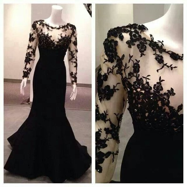 Floral Lace Long Sleeves Prom Dresses For Teens Elegant Illusion ...