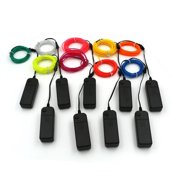 3 M Flexible Neon Light Glow EL Câble Corde Tube Flexible Neon Light 9 Couleurs De Voiture Dance Party Costume + Contrôleur De Noël Décor de Vacances Lumière