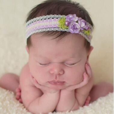 Baby Headbands Flowers Girls Kids Elastic Lace Pearl Headbands Newborn Kids Photography Hairbands Children Hair Accessories for Baby KHA477