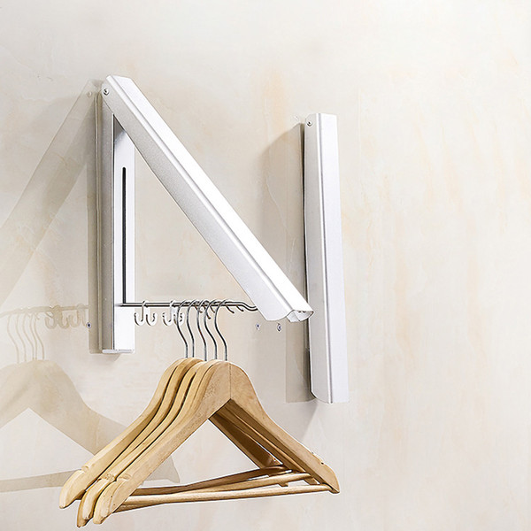 top popular 1pc Foldable Wall Mount Clothes Hanger Space Aluminum Towel Drying Coat Hanger Holder with 2 Racks Space-saving Folding Hangers 2019