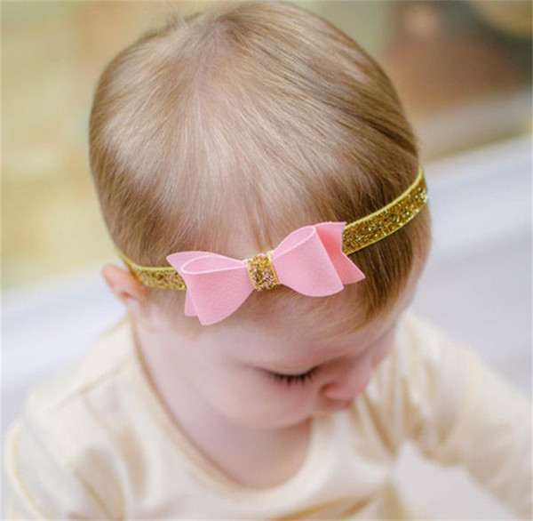 Baby Girls Sparkle Leather Headbands with Gold Powder Bands Kids Bowknot Hairbands baby boutique hair accessories Children Headwear