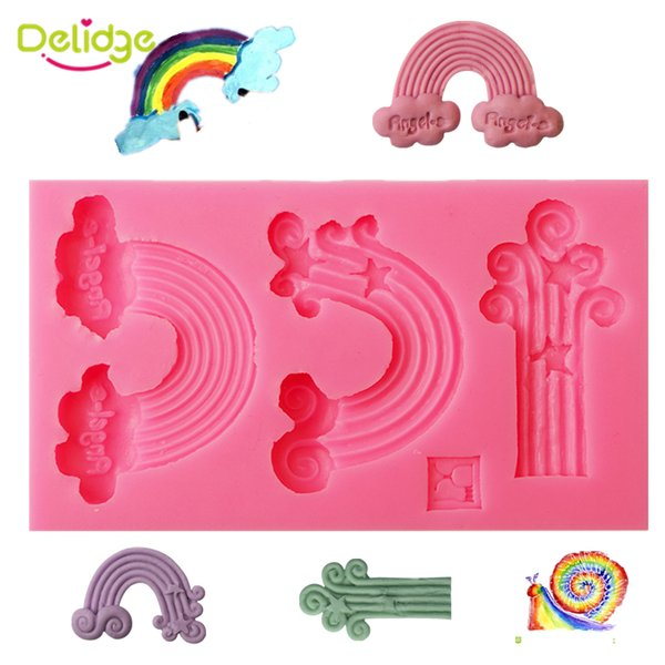 1pc 3D Rainbow Silicone Fondant Mold Handmade Soap Wedding CupCake Baking Ware Moulds Chocolate Decorating Tools