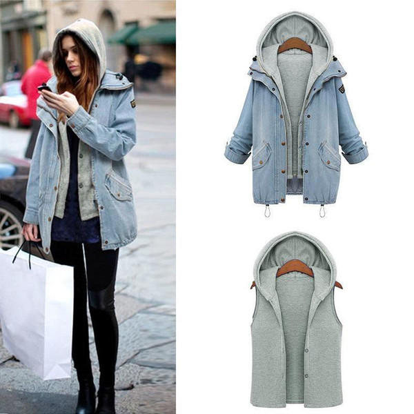 f8014d2fad1a Wholesale- Women Casual Knitted Jean Jacket Two Piece Set Denim Jacket  Hooded Plus Size Oversized Casual Women Coat Outwear