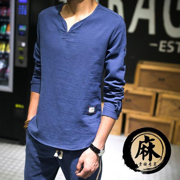 Men's Pullover Cotton Linen Shirts Full Sleeves Casual Shirts Summer Fashion Shirts Man Asian Sizes TS-184