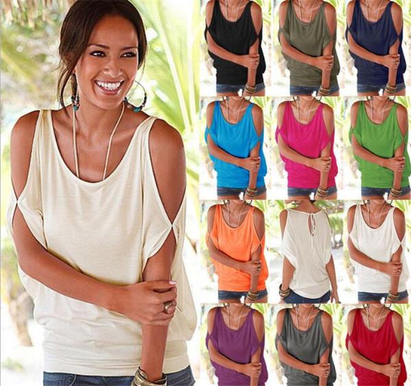 10 pcs 11 cores Mulheres Nua Ombro T-shirt Tops Blusa Solta Batwing Tee Abrir Ombro Frio Topo M073