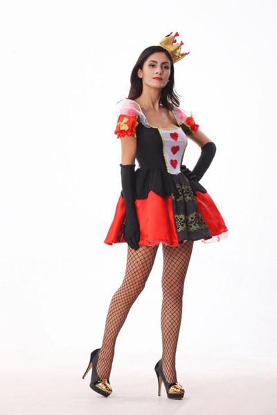 2017 neue Die Königin Der Herzen Kleid 10 Teile / los Sexy Cosplay Halloween Kostüme Uniform Versuchung Club Party Hexe Kleidung Heißer Verkauf