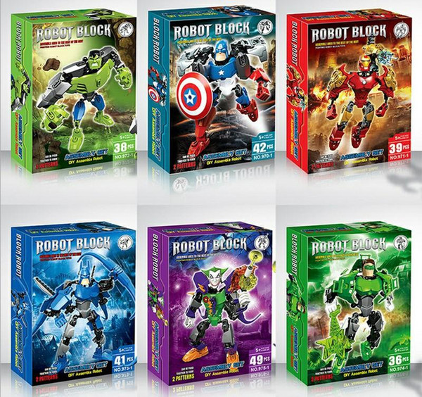 Superheroes The Avengers Batman Iron Man Hulk Thor Captain America Joint Moveable PVC Bricks Figure Model Toys Assembling Building Blocks