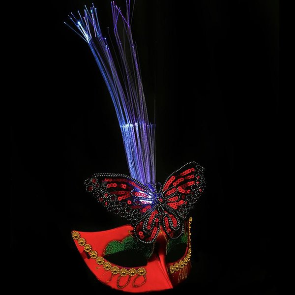 The new fiber optic colorful peacock mask flash light emitting mask dance bar wedding party performing Supplies