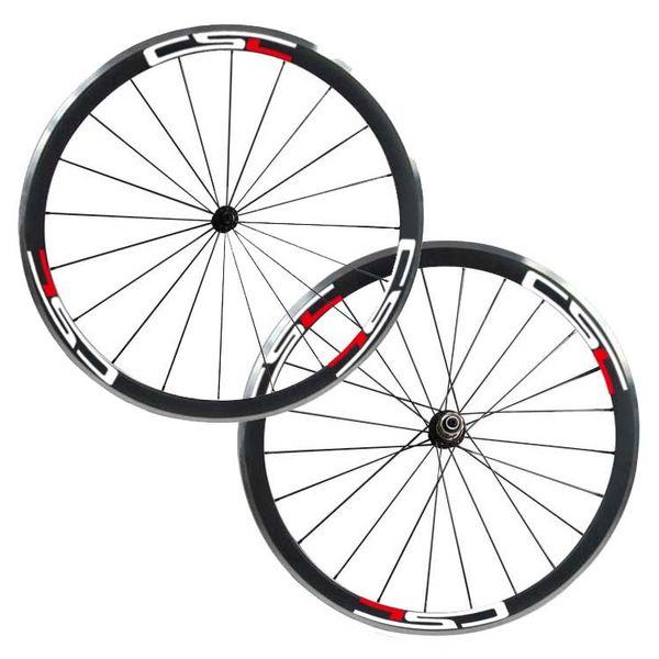Free Shipping 38mm clincher 23mm Width carbon bike wheels with aluminium braking surface Road Bike Wheelset Powerway R13 Hub