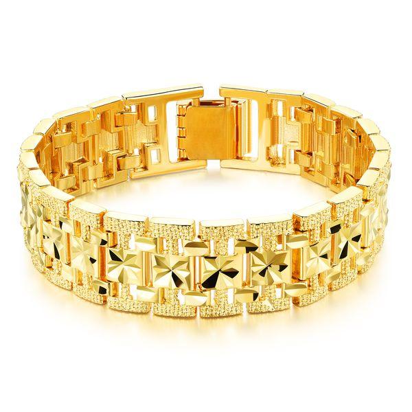 Mens 18 K Gold Filled Link Pulseira Clássico Pulseira de Pulso Cadeia Pulseira Pulseira, Ouro, Pulseira Resizable Jóias