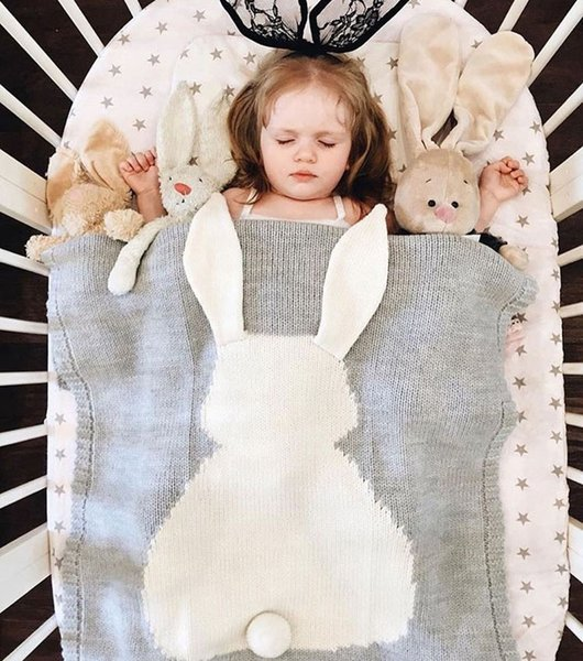 5 Color INS Baby Girls Cute rabbit Knitted Blankets Sleeping Swaddling Sleeping Bags Cute Children Blanket kids Bunny Swaddling B001