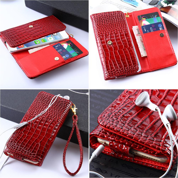 Universal Crocodile Skins Card Slot Flip Leather Case For iPhone 6 sony z4 z5 For Samsung Galaxy s7 edge s6 edge Luxury Mobile Phone Bag