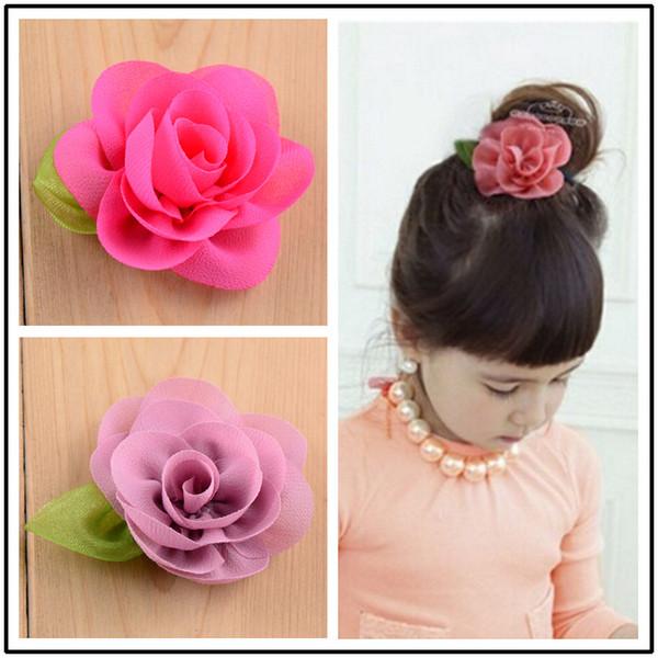 Green leaves chiffon flower with clip 2.4inch Korean girl hairpins cute hair grip kids princess barrettes children hair accessories 30colors