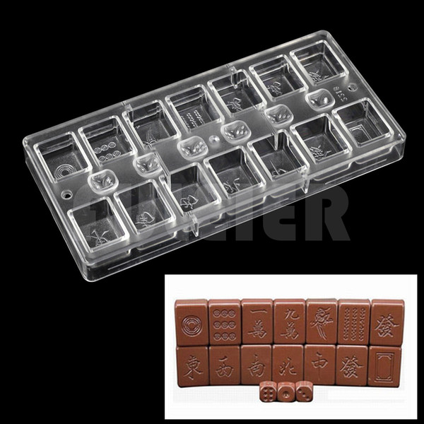 Pastry tools polycarbonate chocolate mold , Chinese Style Table casual games Mahjong with Dice shaped making chocolate moulds