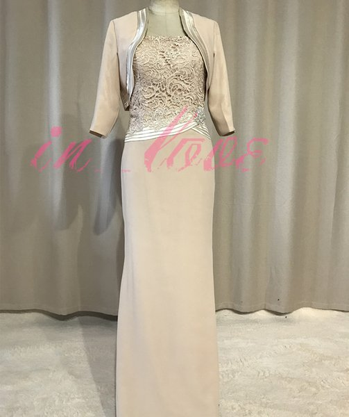 Real Photo Long Champagne Mother of the Bride Dress with Jacket 3/4 Sleeves Lace Chiffon Column Women Formal Gowns Custom Made